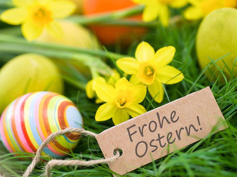 Frohe Ostern mit Osterglocken und Ostereiern