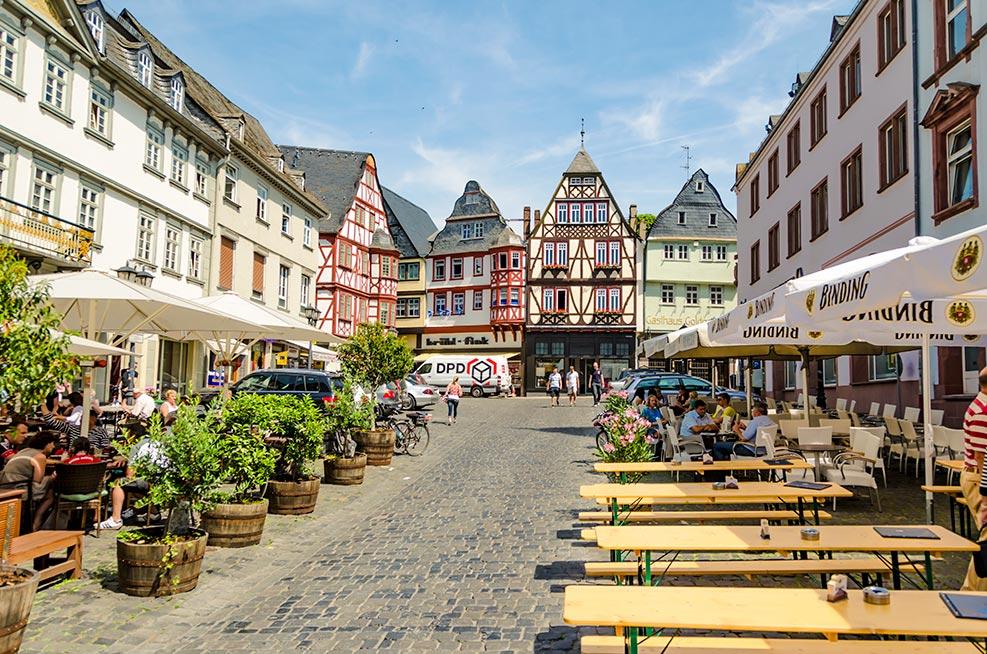 Fachwerkhäuser am Kornmarkt in Limburg an der Lahn